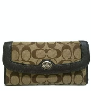COACH Signature Brown & Khaki Turnlock Wallet